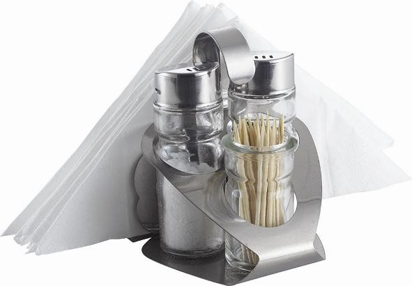 Napkin And Toothpick Holder Set With Salt And Pepper Shakers Glass Condiment Set