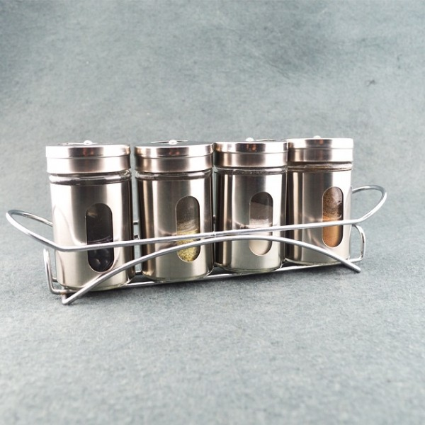 5 pcs stainless steel spice sets with holder4(KH-4102)