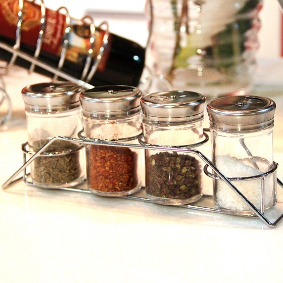 4 pcs glass spice shakers with holder