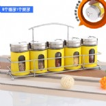 5 pcs glass spice sets with holder yellow(KH-5105)