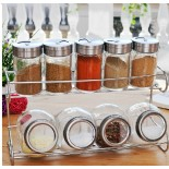 9 pcs glass condiment sets with rack(KH-9102)