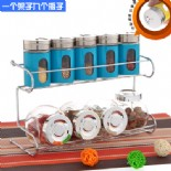 9 pcs glass storage bottles with rack blue(KH-9108)